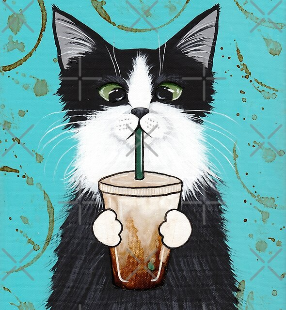 Tuxedo Cat with Iced Coffee by Ryan Conners