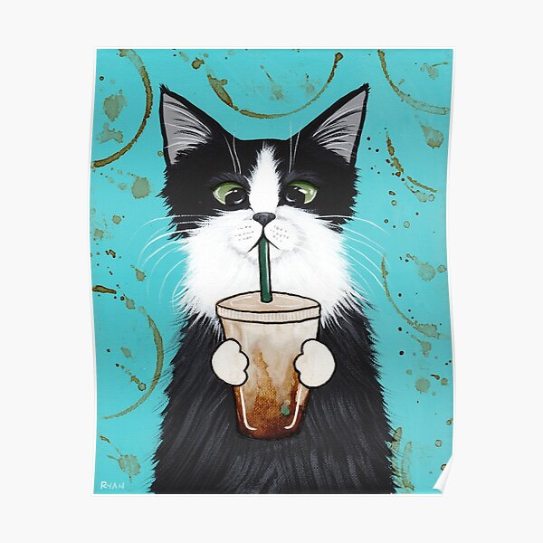 Tuxedo Cat with Iced Coffee Poster