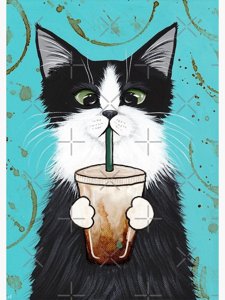 Tuxedo Cat with Iced Coffee by kilkennycat
