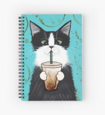 Tuxedo Cat with Iced Coffee Spiral Notebook
