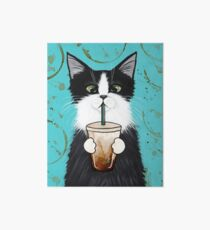 Tuxedo Cat with Iced Coffee Art Board