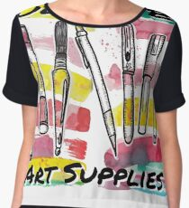 Fueled By Art Supplies - Watercolor Design Chiffon Top