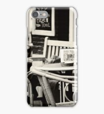 Street Cafe in Amsterdam. Black and White iPhone Case/Skin
