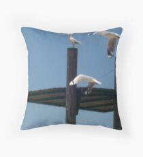 Seagulls in Flight Throw Pillow