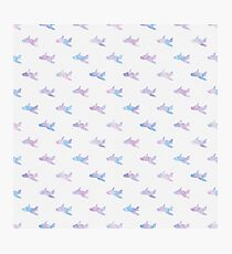 Colorful Watercolor Airplane Seamless Pattern Photographic Print