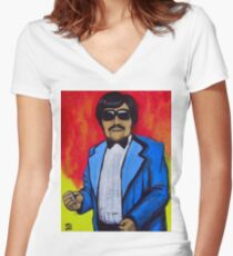 37c104ae286f Tony Clifton Hell Women s Fitted V-Neck T-Shirt