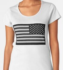Special Forces, AMERICAN, ARMY, Soldier, American Military, Arm Flag, US Military,  USA, Flag, Reverse side flag, on BLACK Women's Premium T-Shirt