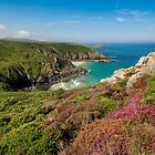 Pendour cove from the headland of Zennor cliffs Cornwall by eddiej
