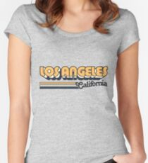 Los Angeles, CA | City Stripes Women's Fitted Scoop T-Shirt