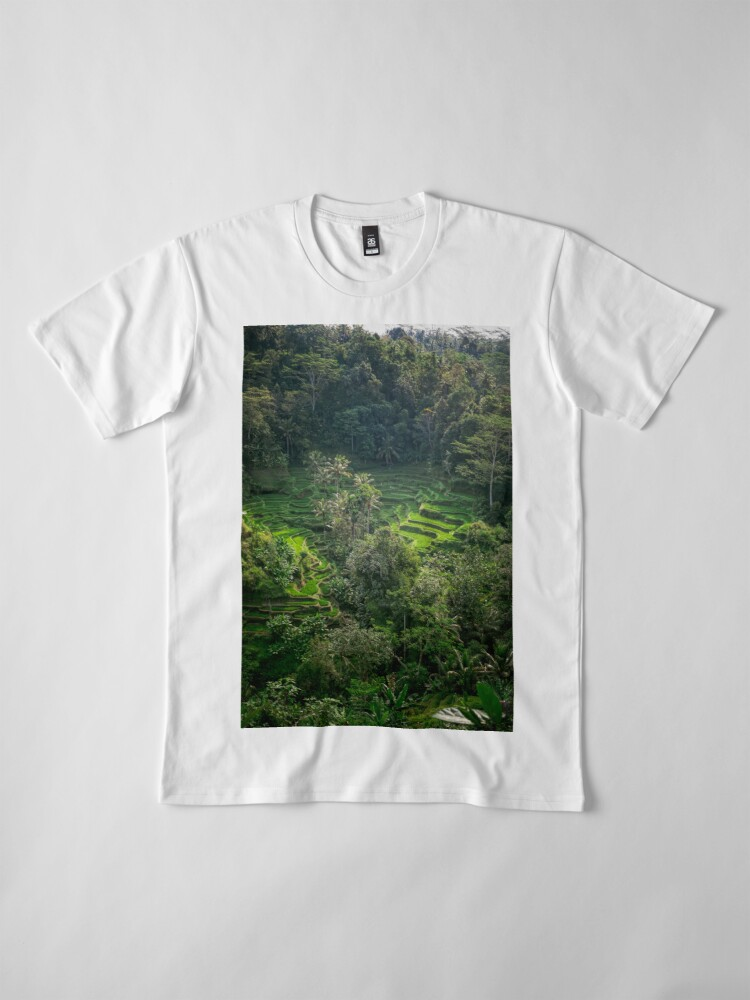 Vista alternativa de Camiseta premium Terraza de arroz de Bali