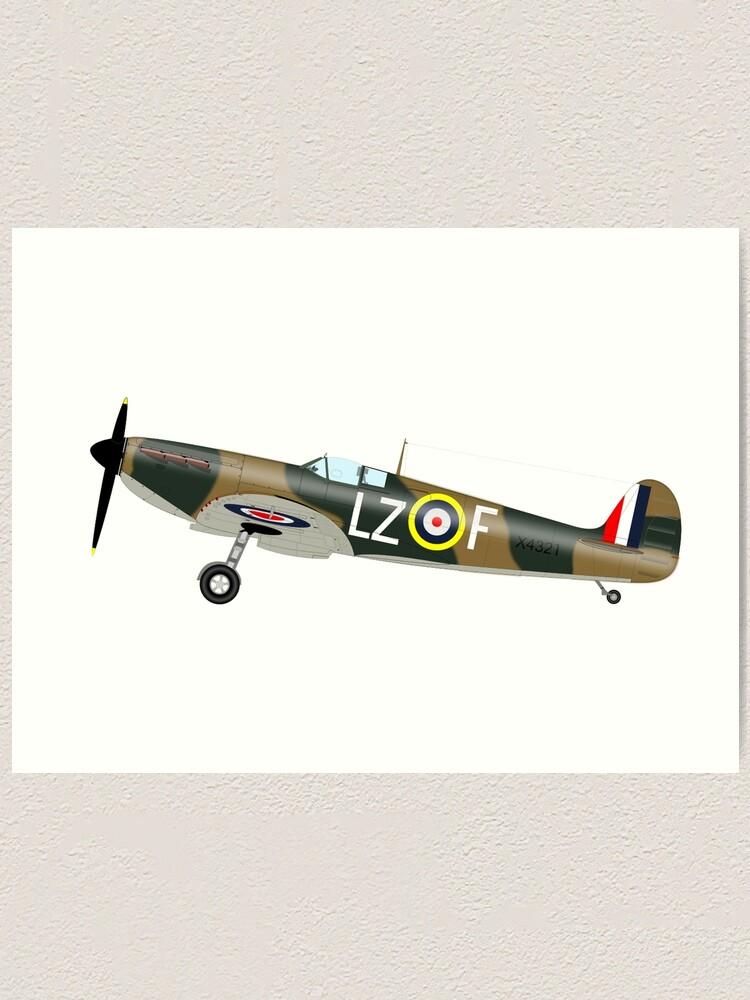 Spitfire Fighter Plane Framed Print World War 2 WW2 Aeroplane Picture Poster