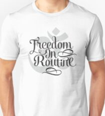 Freedom In Routine - Inspirational And Motivational Om Symbol Yoga Typography Text Design T-Shirt