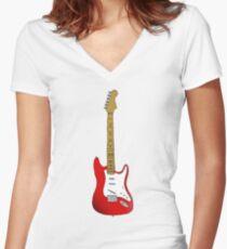 Red Guitar Illustration Women's Fitted V-Neck T-Shirt