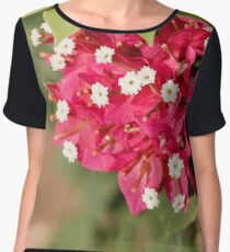 red Bougainvillea leaves and flowers close up Women's Chiffon Top