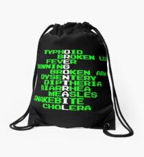 Oregon Trail - Ways to Die in the West Drawstring Bag