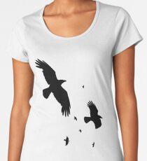 A Murder of Crows In Flight Vector Silhouette Women's Premium T-Shirt