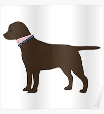 Chocolate Lab Preppy Dog Silhouette Poster