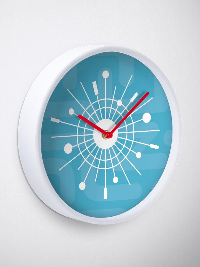 Alternate view of Mid Century Modern Cool Yule MOD Christmas - Atomic Snowflake Sunburst Clock