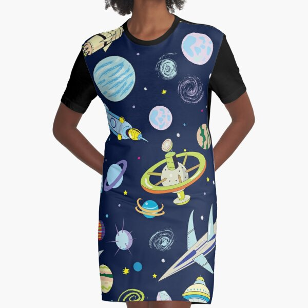Space Adventure Graphic T-Shirt Dress