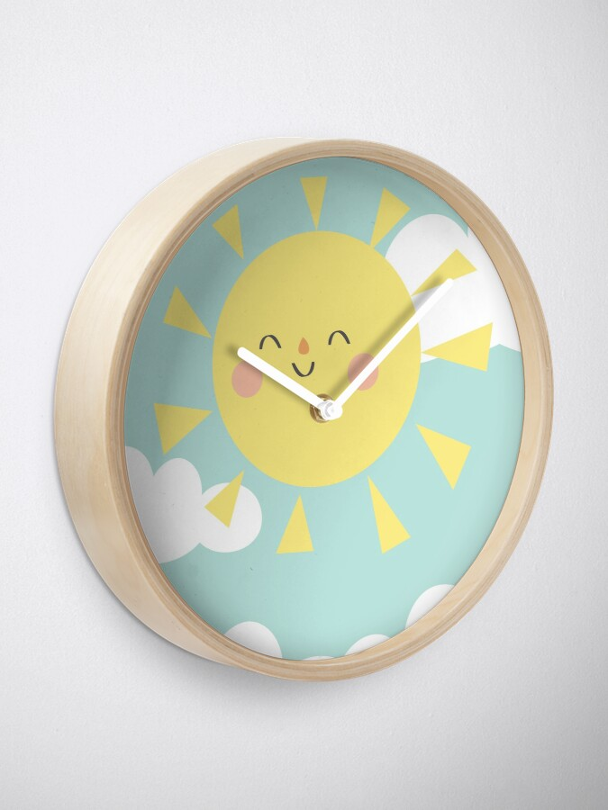 Alternate view of You are My Sunshine Happy Sun and Clouds Pastel Baby Nursery Art Print Design Clock