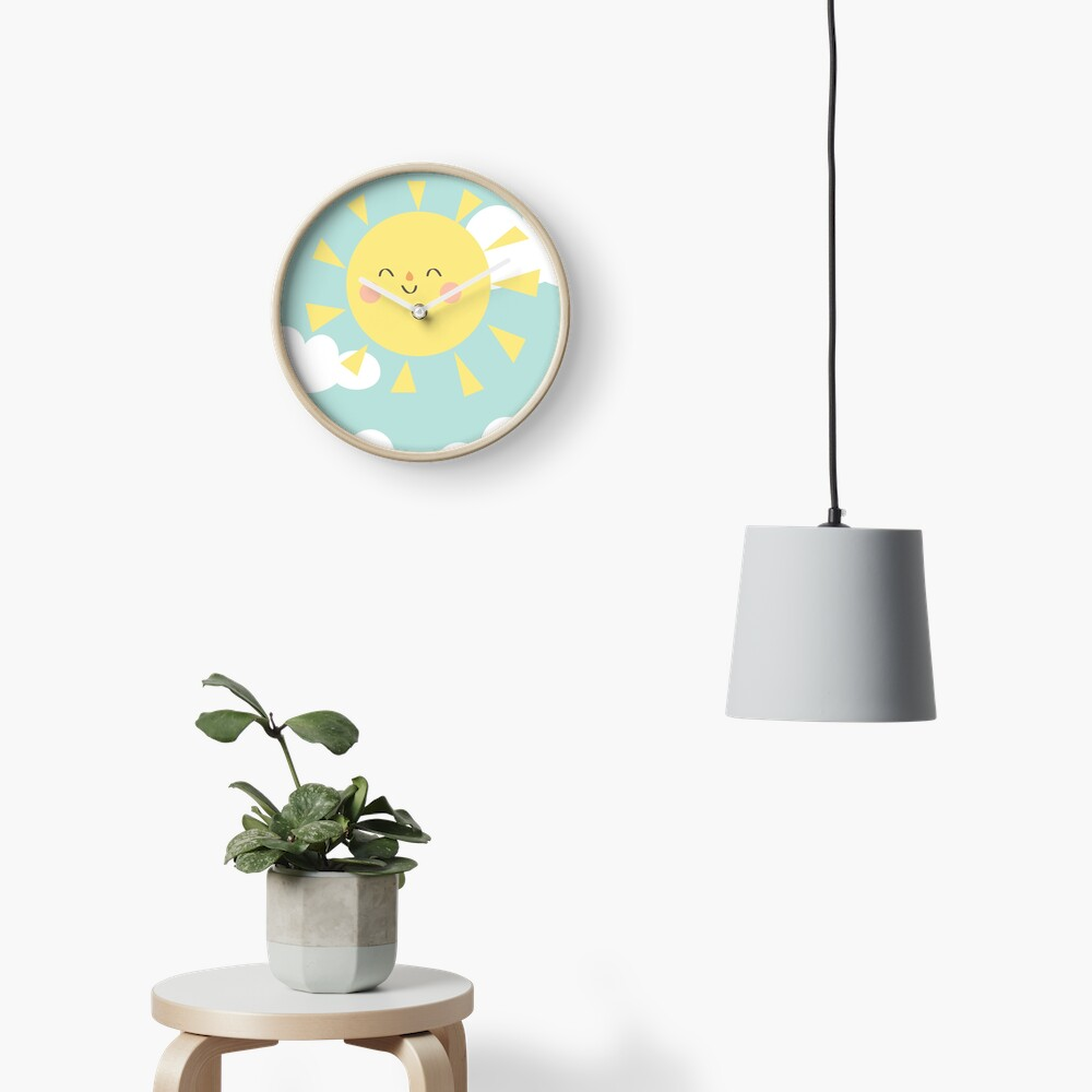You are My Sunshine Happy Sun and Clouds Pastel Baby Nursery Art Print Design Clock