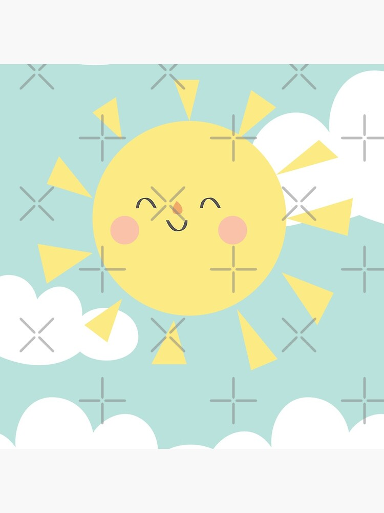 You are My Sunshine Happy Sun and Clouds Pastel Baby Nursery Art Print Design by DesIndie