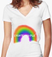 Camiseta entallada de cuello en V I Hate People ™