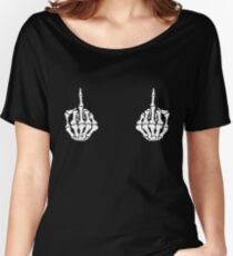 Middle Finger Skeleton Hands Women's Relaxed Fit T-Shirt