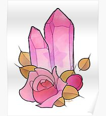 Rose Quartz Crystal Tattoo Flash Poster
