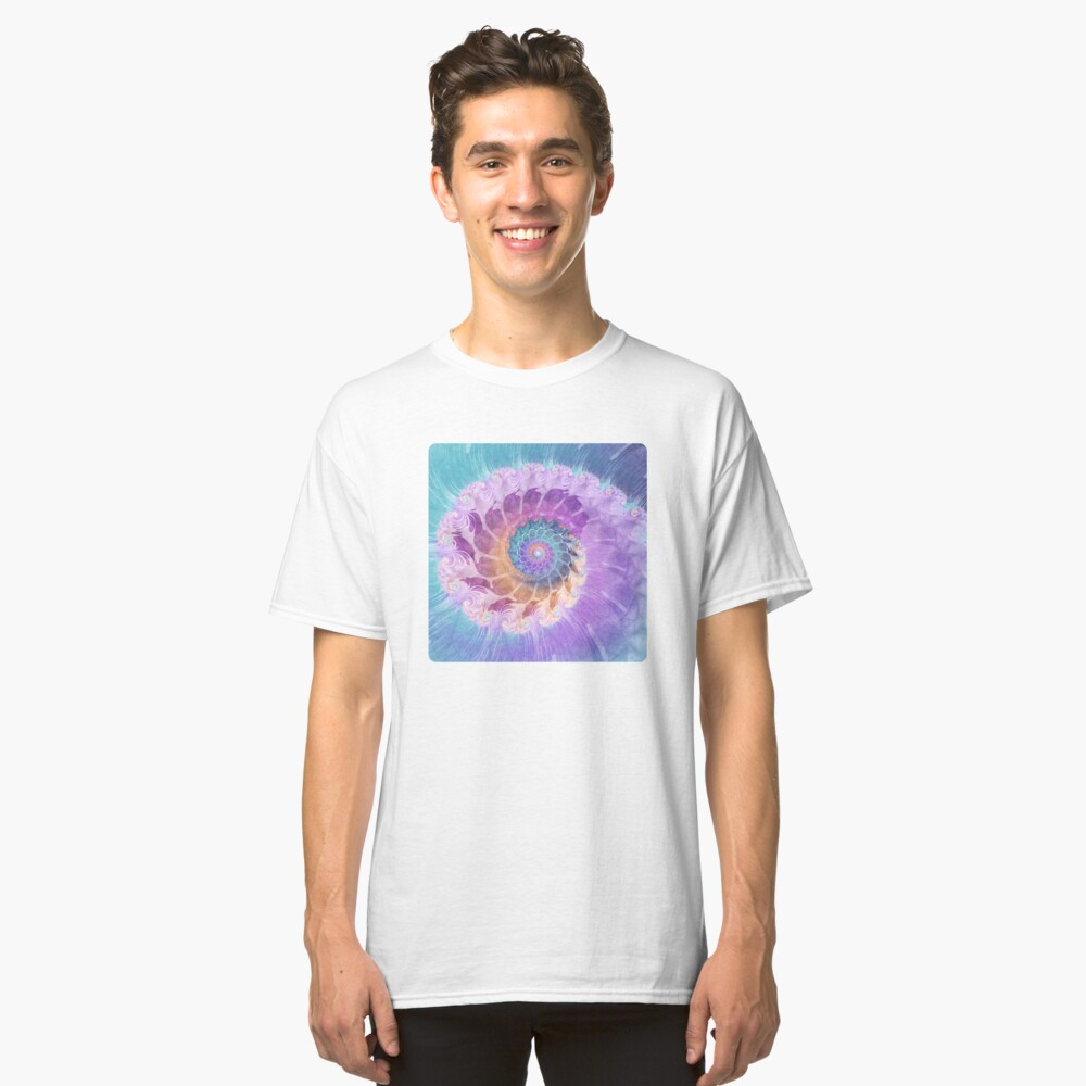 Painted Fractal Spiral in Turquoise, Purple and Orange Classic T-Shirt Front