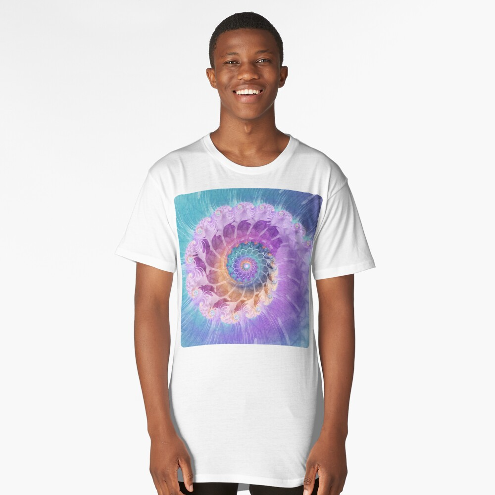 Painted Fractal Spiral in Turquoise, Purple and Orange Long T-Shirt Front