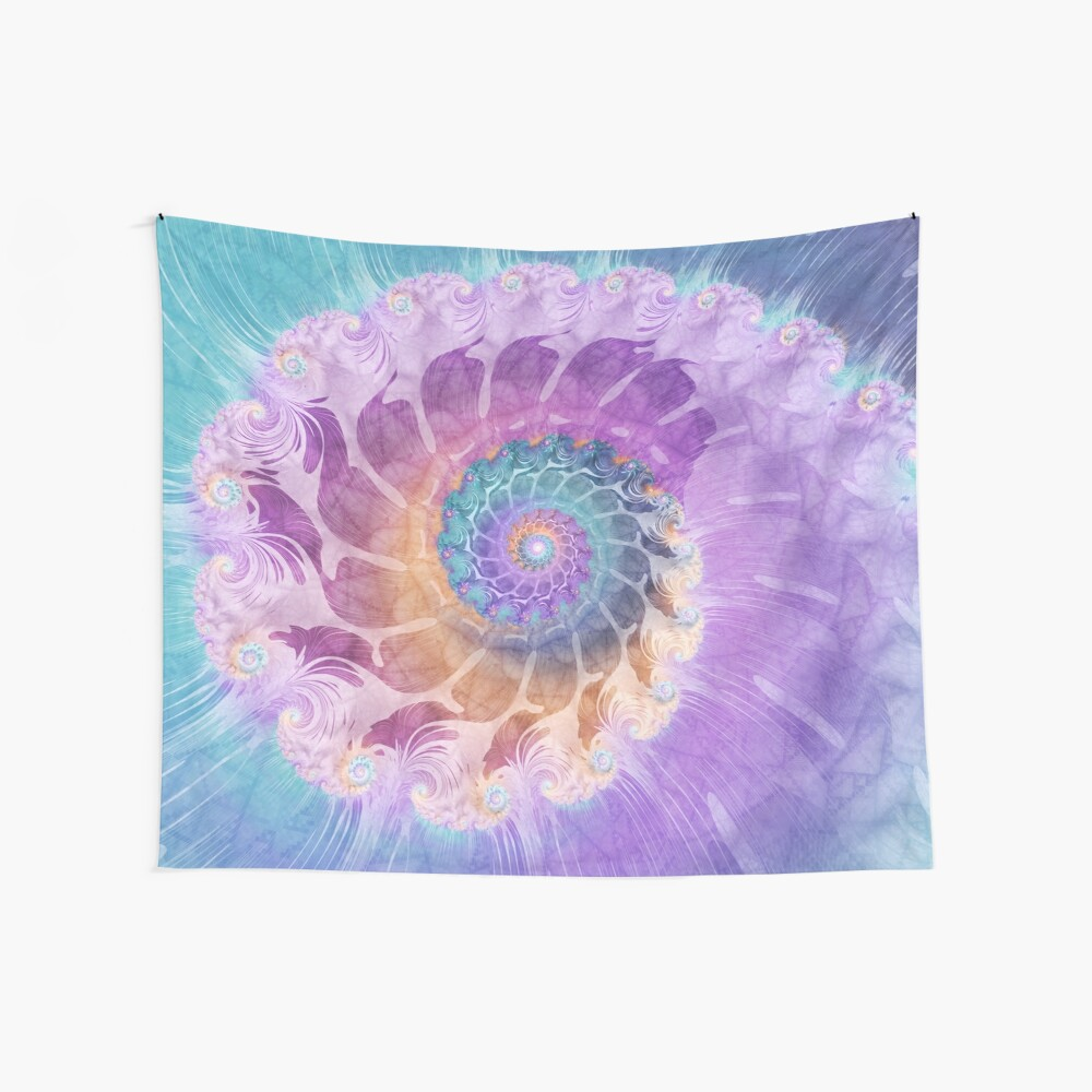 Painted Fractal Spiral in Turquoise, Purple and Orange Wall Tapestry
