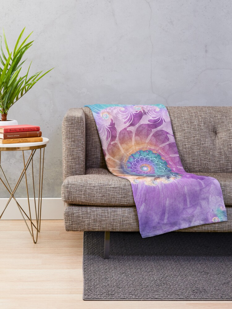 Alternate view of Painted Fractal Spiral in Turquoise, Purple and Orange Throw Blanket