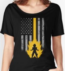 saiyan lover with american flag Women's Relaxed Fit T-Shirt