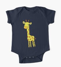 Happy Giraffe - cute cartoon yellow on blue - Cute Giraffe by Cecca Designs One Piece - Short Sleeve