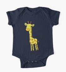 Happy Giraffe - cute cartoon yellow on blue - Cute Giraffe by Cecca Designs One Piece - Short Sleeve