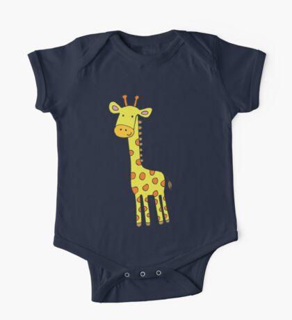 Happy Giraffe - cute cartoon yellow on blue - Cute Giraffe by Cecca Designs Kids Clothes