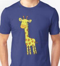 Happy Giraffe - cute cartoon yellow on blue - Cute Giraffe by Cecca Designs T-Shirt
