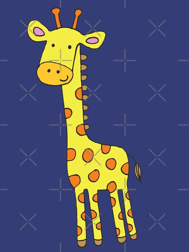 Happy Giraffe - cute cartoon yellow on blue - Cute Giraffe by Cecca Designs by Cecca-Designs