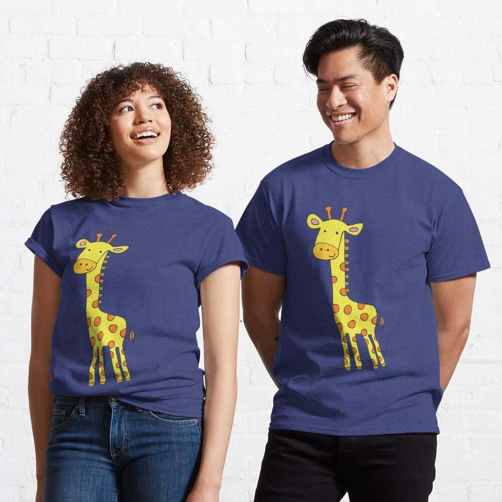 Happy Giraffe - cute cartoon yellow on blue - Cute Giraffe by Cecca Designs Classic T-Shirt