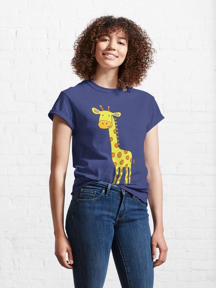 Alternate view of Happy Giraffe - cute cartoon yellow on blue - Cute Giraffe by Cecca Designs Classic T-Shirt