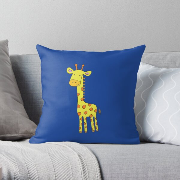Happy Giraffe - cute cartoon yellow on blue - Cute Giraffe by Cecca Designs Throw Pillow
