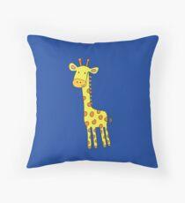 Happy Giraffe - cute cartoon yellow on blue - Cute Giraffe by Cecca Designs Throw Pillow