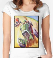 AUTOMOBILE RACING : Vintage Painting Print Women's Fitted Scoop T-Shirt