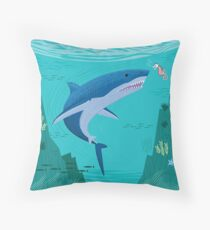 The Shark and The Seahorse Throw Pillow