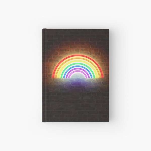Rainbow Neon Sign Hardcover Journal