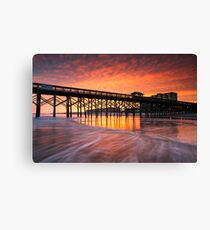 Charleston South Carolina Folly Beach Pier and Waterfront Development Canvas Print