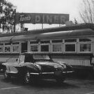 Corvette Tom's Diner - black and white by makarmusic