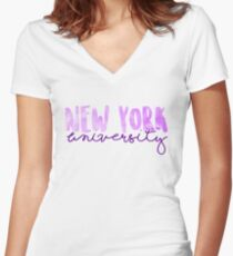 New York University Women's Fitted V-Neck T-Shirt