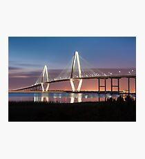 Charleston Arthur Ravenel Cooper River Bridge Sunset Landscape Photographic Print